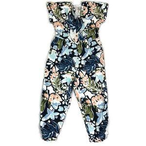 LUSH Women's Linen Blend Short Sleeve Jumpsuit